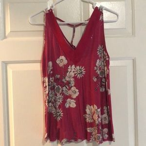 Maurice's Pink and White Floral Tank Size M
